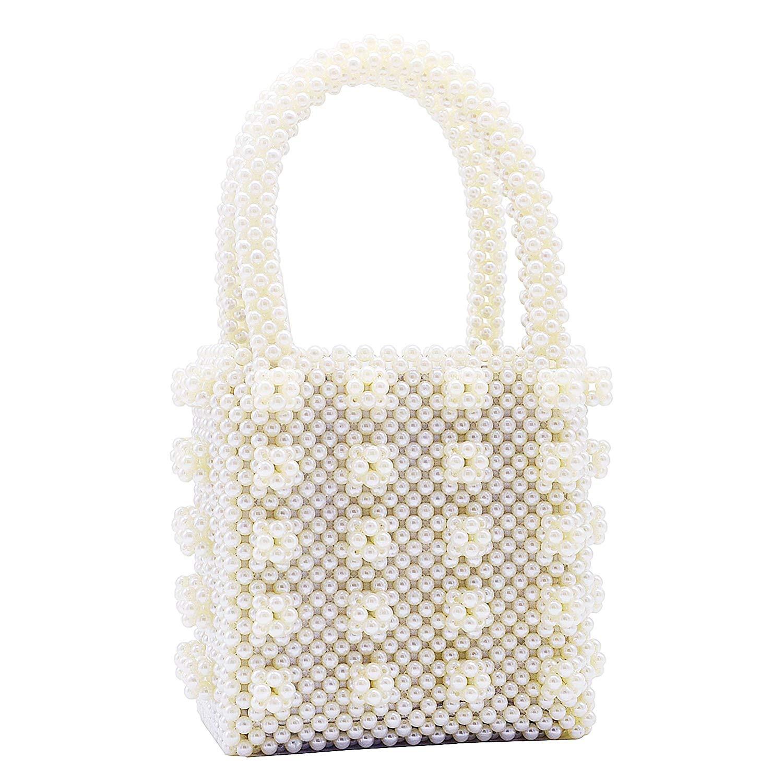 Miuco Womens Beaded Handbags Handmade Weave Crystal Pearl Tote Bags Cream: Handbags: Amazon.com
