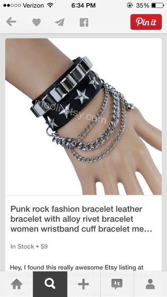 jewels punk chain black studs punk bracelet punk jewelry