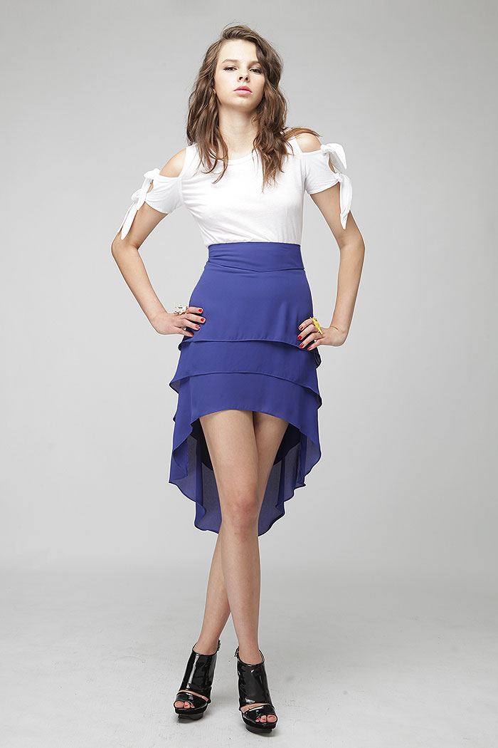 Unbalance hem tiered tail skirt (2colors)