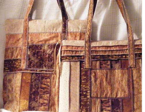 50% OFF SALE Travel Duo Tote Bags of Gold, Brown and Tan Strips