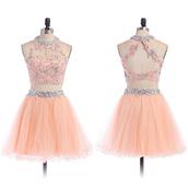 dress,prom,prom dress,pink,pastel,pastel dress,crystal,gemstone,love,pretty,coral,two piece dress set,lovely,fashion,cute,cute dress,trendy,girly,vogue,wow,cool,short,mini,mini dress