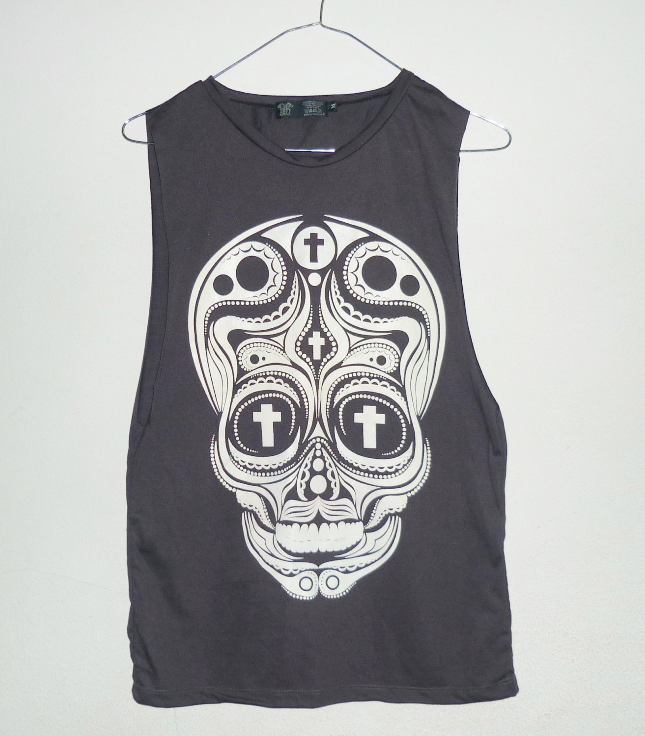 girlsTank top size S small Cross skull shirt cut off shirt Black ...