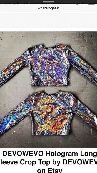 top holigraphic metallic crop tops