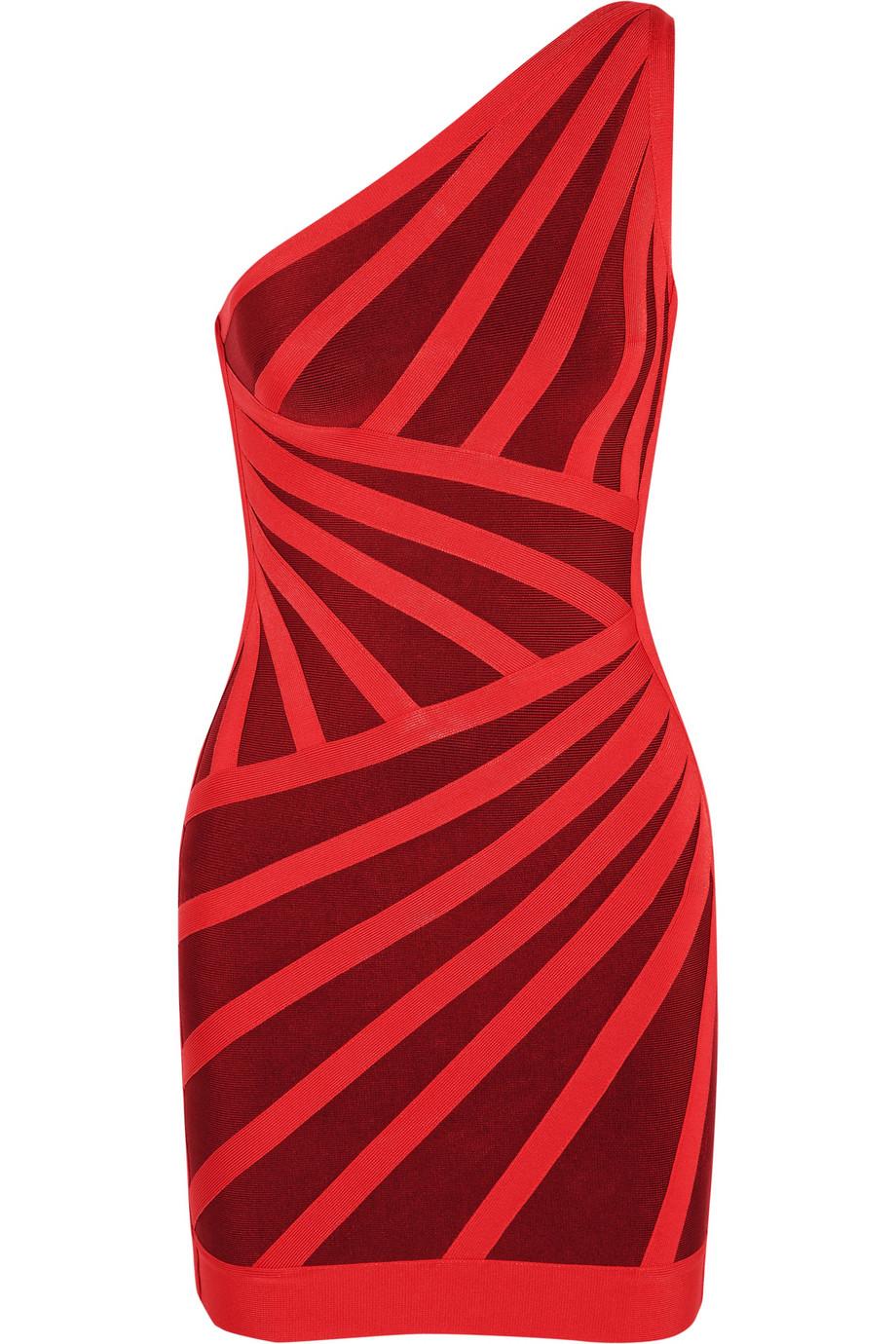 Asymmetric bandage dress | Hervé Léger | 60% off | THE OUTNET