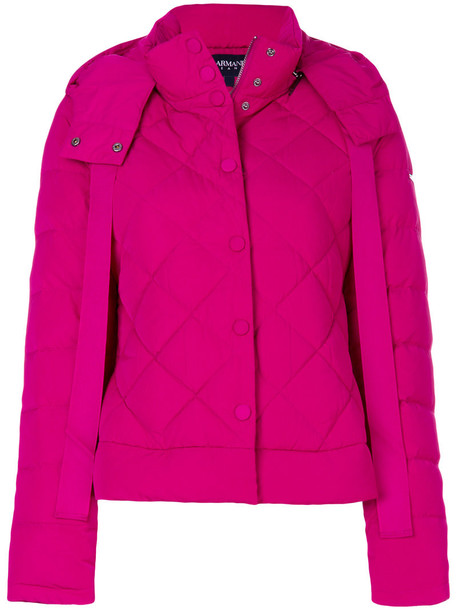 ARMANI JEANS jacket puffer jacket women quilted purple pink