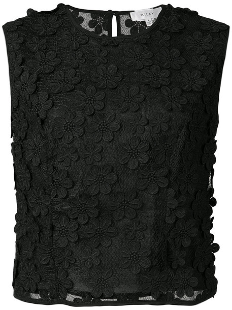 MILLY tank top top embroidered women spandex floral black silk