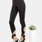 Cropped tie leggings black -shein(sheinside)