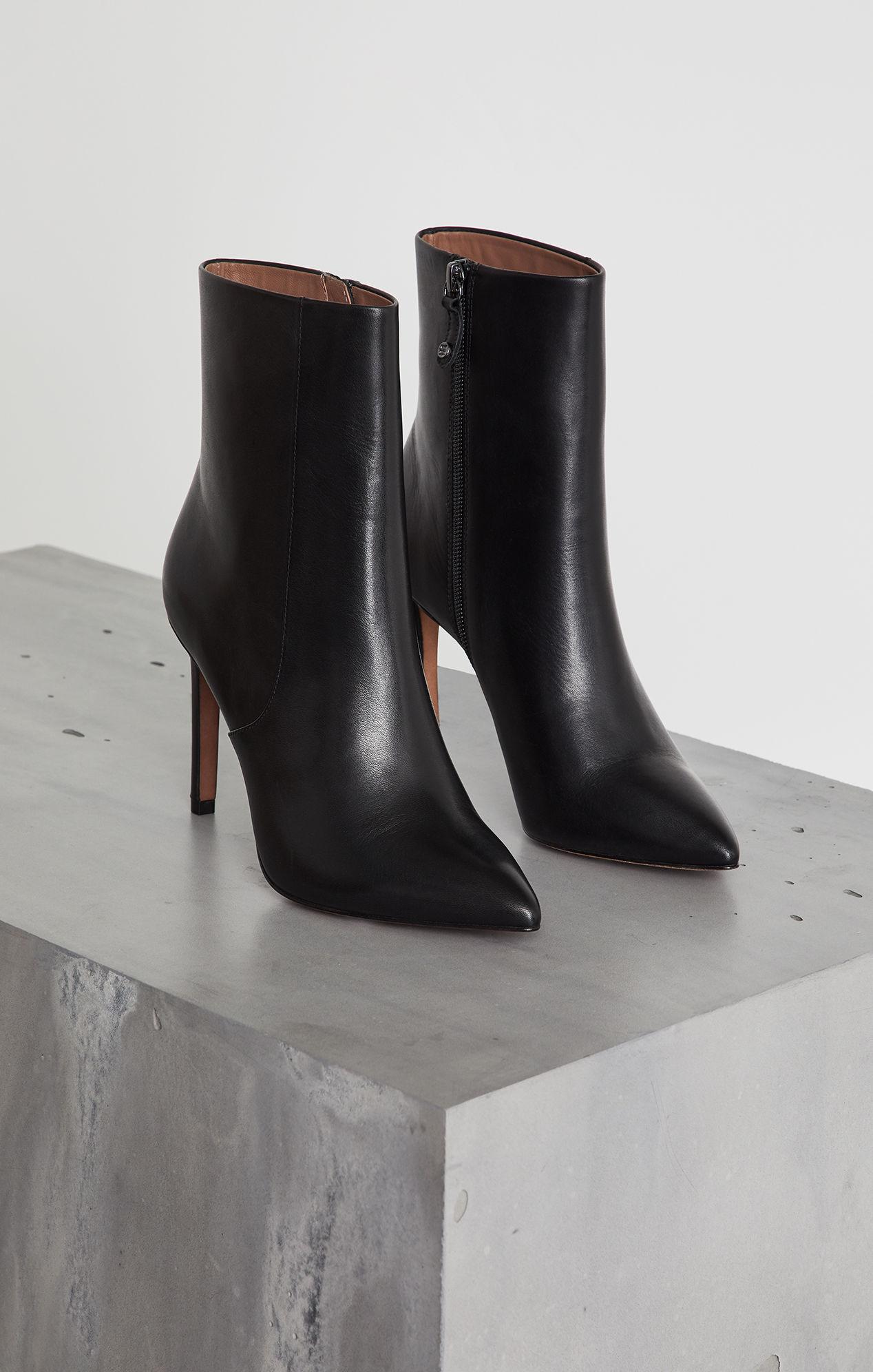 Ava Leather Stiletto Bootie - Black   BCBG.com   BCBG.com