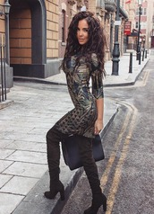 dress,boots,handbag,black,fall outfits,nikoleta lozanova,overknee boots,camouflage,brunette,the brunette,brown leather boots,autumn boots,curly hair,wavy hair