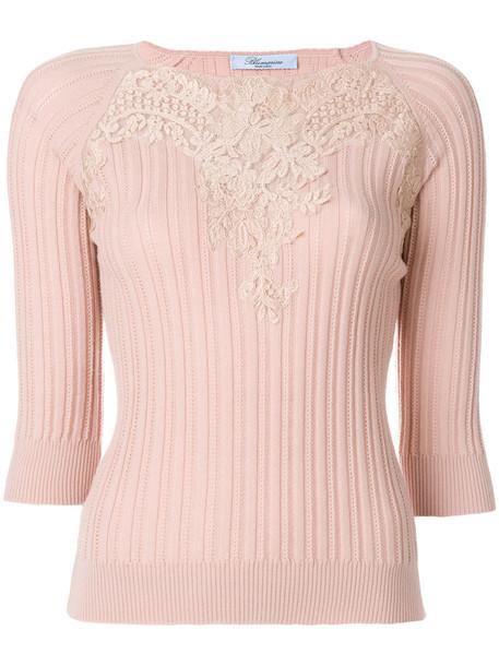 Blumarine jumper women lace cotton wool purple pink sweater