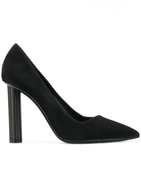 Salvatore Ferragamo heel women pumps leather suede black shoes