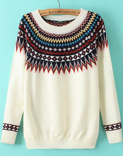 White geometric print round neck knit sweater