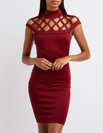 dress red crimson cross neck high neck dress bodycon dress burgundy homecoming
