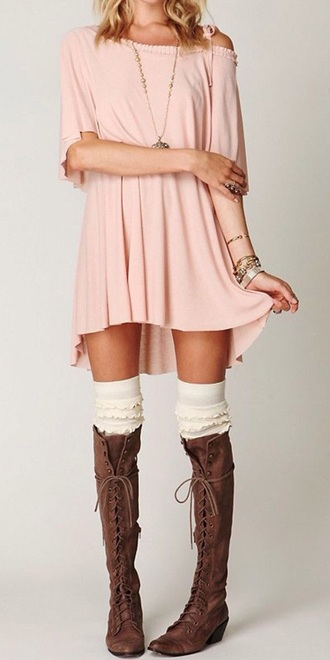 shoes leather lace up boots brown thigh highs knee high moccasins moccasin boots dress jewels