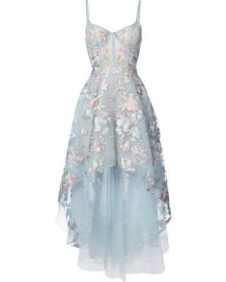 Marchesa Notte Marchesa Notte floral embroidered high-low dress - Blue from Farfetch:Linkshare:Affiliate:CPA:US:US | ShapeShop