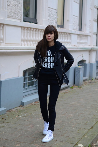 lovely by lucy blogger sweater jeans high top sneakers quote on it leather jacket