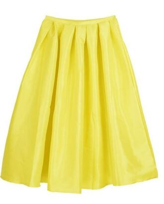 yellow midi skirt yellow skirt skater skirt shiny yellow skirt high waist skirt www.ustrendy.com