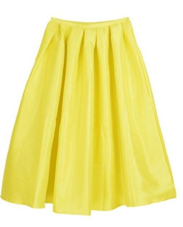 yellow midi skirt yellow skirt skater skirt shiny yellow skirt high waist skirt www.ustrendy.com