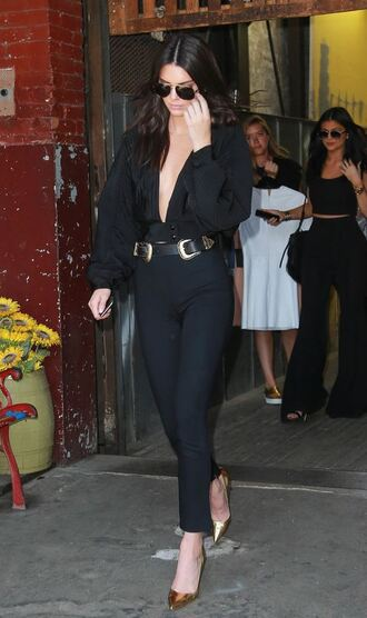 blouse plunge v neck kendall jenner all black everything pants pumps belt shoes