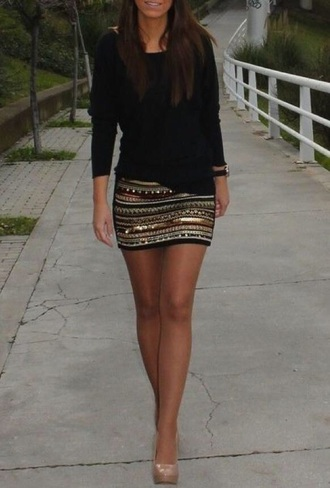 skirt black and gold black gold mini skirt sequins skirt black and gold mini skirts