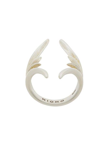 Niomo women ring silver grey metallic jewels