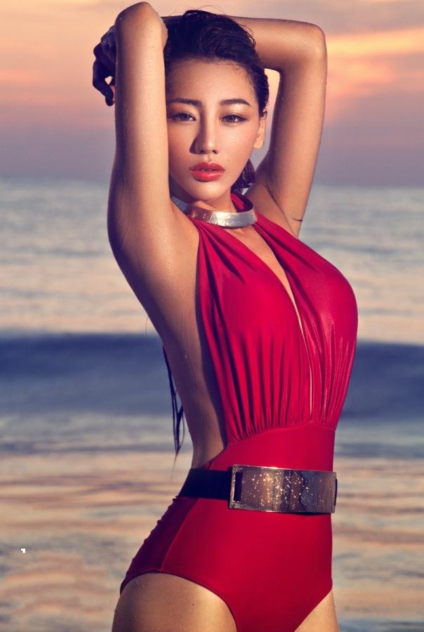 Red deep v plunge halter backless bodysuit/swimsuit