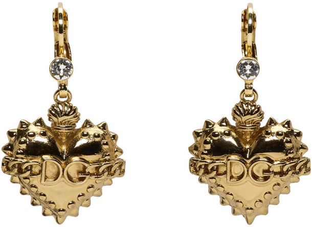 Dolce and Gabbana heart earrings gold jewels