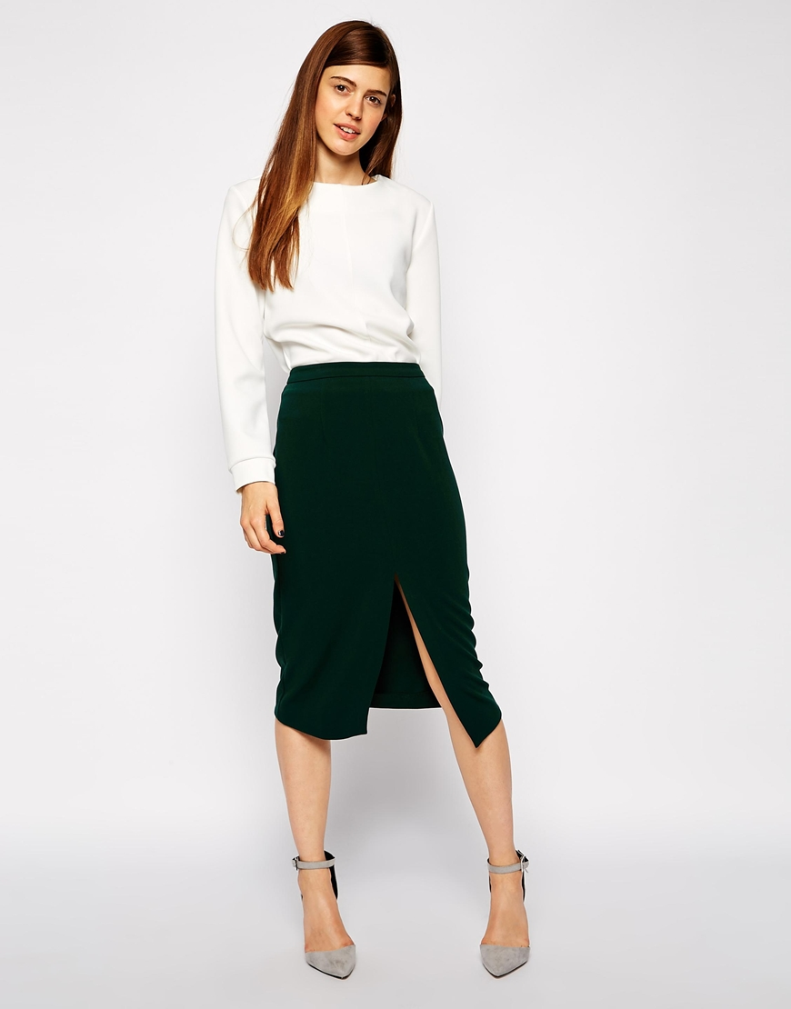 ASOS Mid Length Split Front Pencil Skirt at asos.com