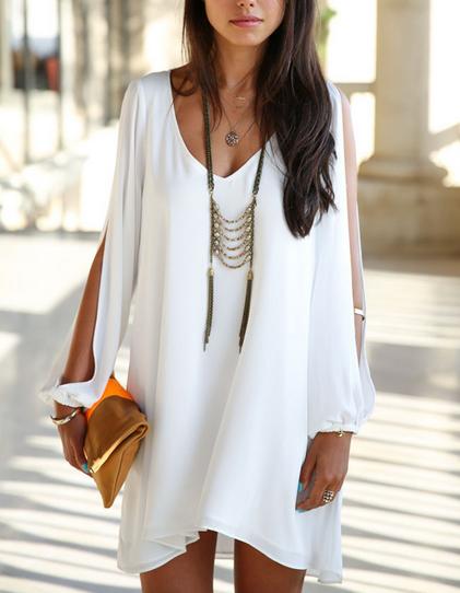 Long Sleeve Loose-Fitting Casual Chiffon Dress