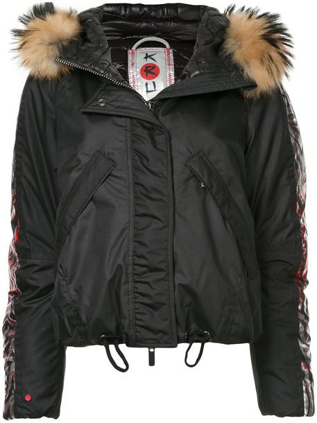 Kru - fur hooded bomber jacket - women - Polyester/Polyamide - XS, Black, Polyester/Polyamide