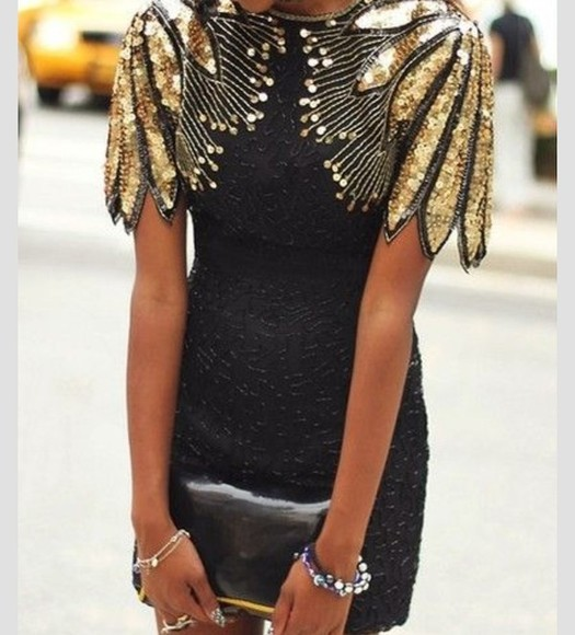 dress black little black dress sequin dress gold wings