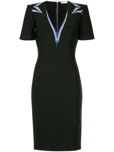 MUGLER dress pencil dress embroidered women spandex v neck black