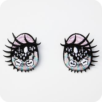 pink buttons jewels cute pastel girly pastel pink kawaii eyes' kawaii grunge cartoon japanese patches