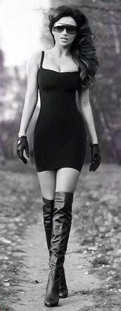 fashion sunglasses,black sunglasses,dress,spaghetti strap,black dress,short dress,gloves,leather gloves,leather,thigh high boots,fashion,curly hair,date dress,aviator sunglasses,glasses,top,crop tops,bustier dress,high heels,high heels boots,stiletto nails,stilettos