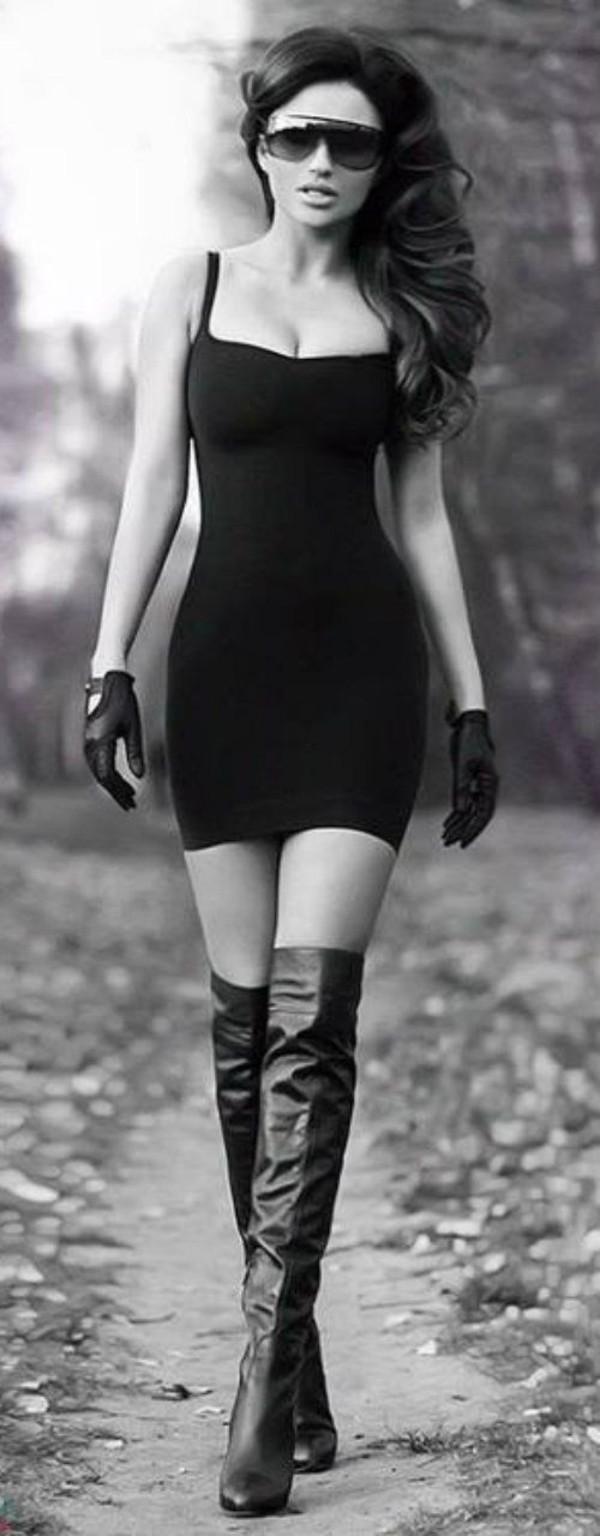 Fashion sunglasses black sunglasses dress spaghetti strap black dress short dress gloves ...