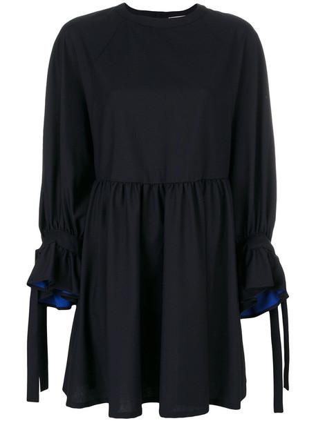 maison kitsune dress shift dress women cotton blue wool