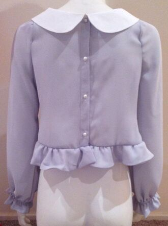 blouse back cute adorable crop top shirt t-shirt collar doll collar purple light pastel white pearl button peplum flair flare ruffle marzia girl pretty sweet