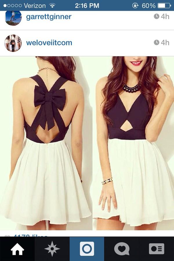 dress black and white dress cross back bow dress low v neck low v bow dress