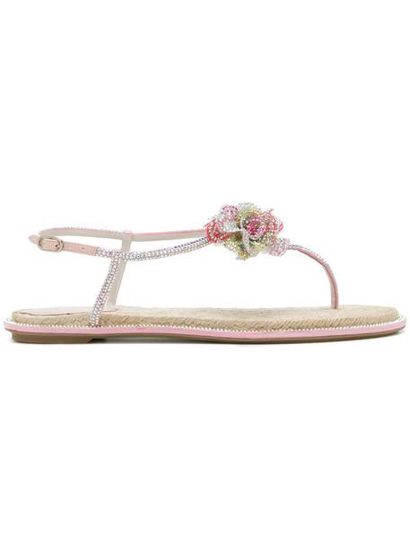 René Caovilla women sandals floral leather grey metallic shoes