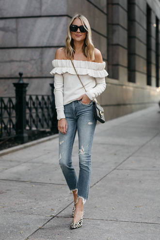 fashionjackson blogger sweater jeans shoes bag sunglasses fall outfits off the shoulder top crossbody bag pumps top tumblr off the shoulder white top denim blue jeans skinny jeans pointed toe pumps