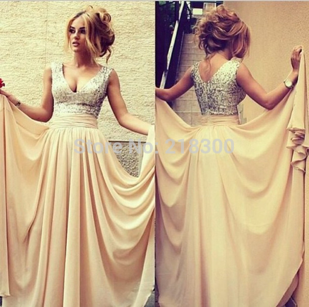Aliexpress.com : Buy Sequin Top Champagne Chiffon Cheap Prom Dresses ...