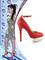 Kim kardashian heels red linen covered leather round toe platform stiletto 140 mm high coverd heeled ankle strap pumps heels assco