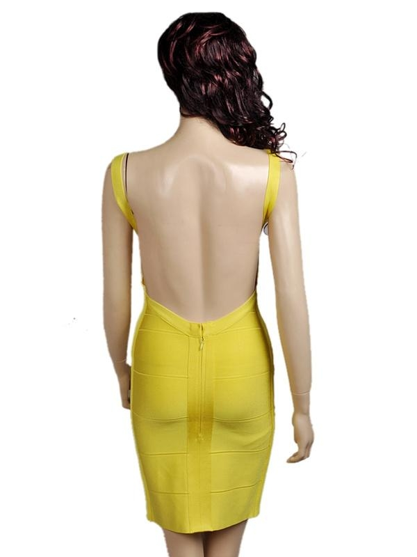 Hot! Herve Leger V neck backless bandage dress yellow
