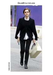 celebstyle for less,emma watson,cape,white shirt,black jeans,knee high boots,phone cover,black boots,winter outfits,black coat,jacket
