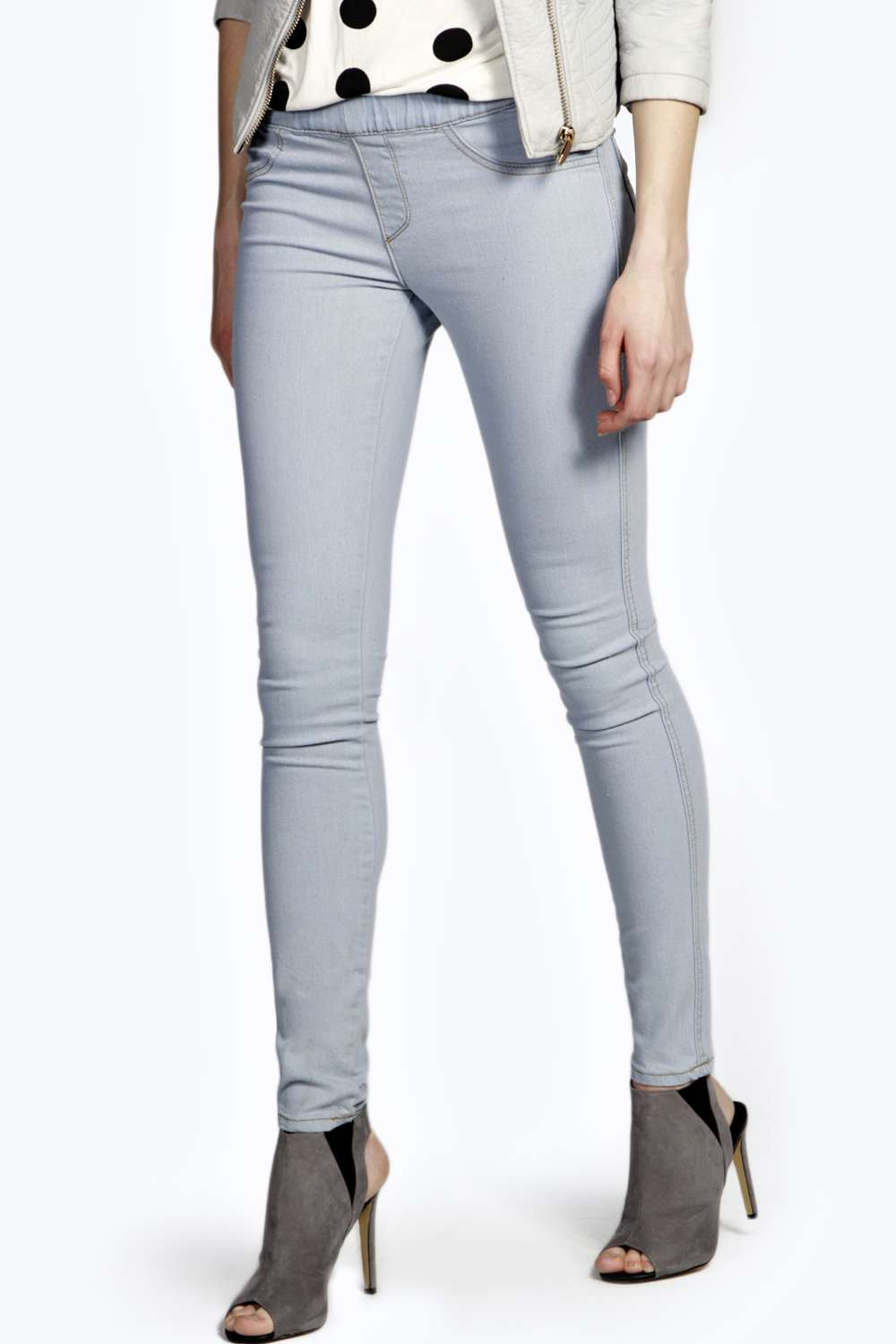 Elodie Bleached Denim Pull On Jeggings