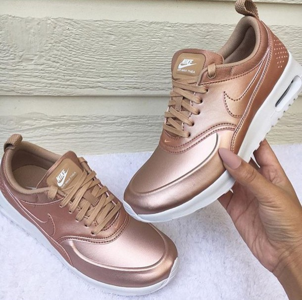 shoes nike rose gold bronze