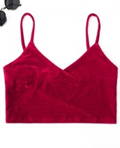 blouse,girly,red,burgundy,crop tops,crop,cropped,velvet,bralette