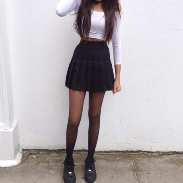 Skirt Tennis Skirt Black Black Skirt Vintage Hipster