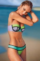 swimwear,neon,purple,green,bikini,bikini bottoms,victoria secreta,style,candice swanepoel,block colour