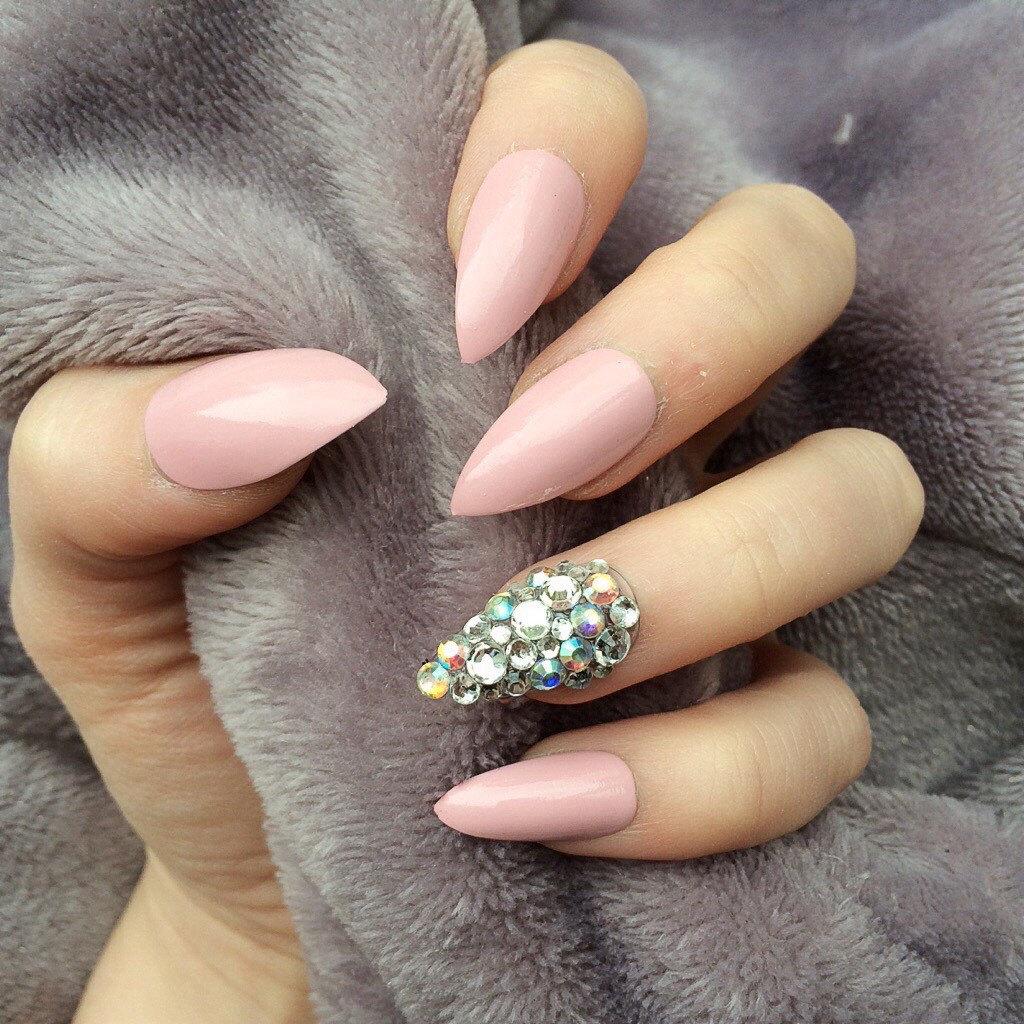 Doobys Stiletto Nails - Baby Pink Gloss Ring Finger Swarovski - 24 ...